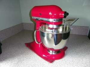 KitchenAid Counter Mixer.  I went 35 years using a hand mixer instead of one of these, and I can't believe how much easier this is to use.  Now I can easily make bread, pizza dough, cakes...you name it.