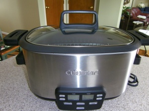 6 1/2 Quart Three-Way Cooker (AKA, crock pot on steroids).  After a lot of research, I chose this one.  You can brown the meat/vegetables right in the pot and also use it as a steamer.