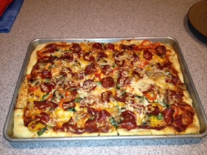 Mushroom, Turkey Pepperoni, Onion, Red and Yellow Pepper, and Basil Pizza